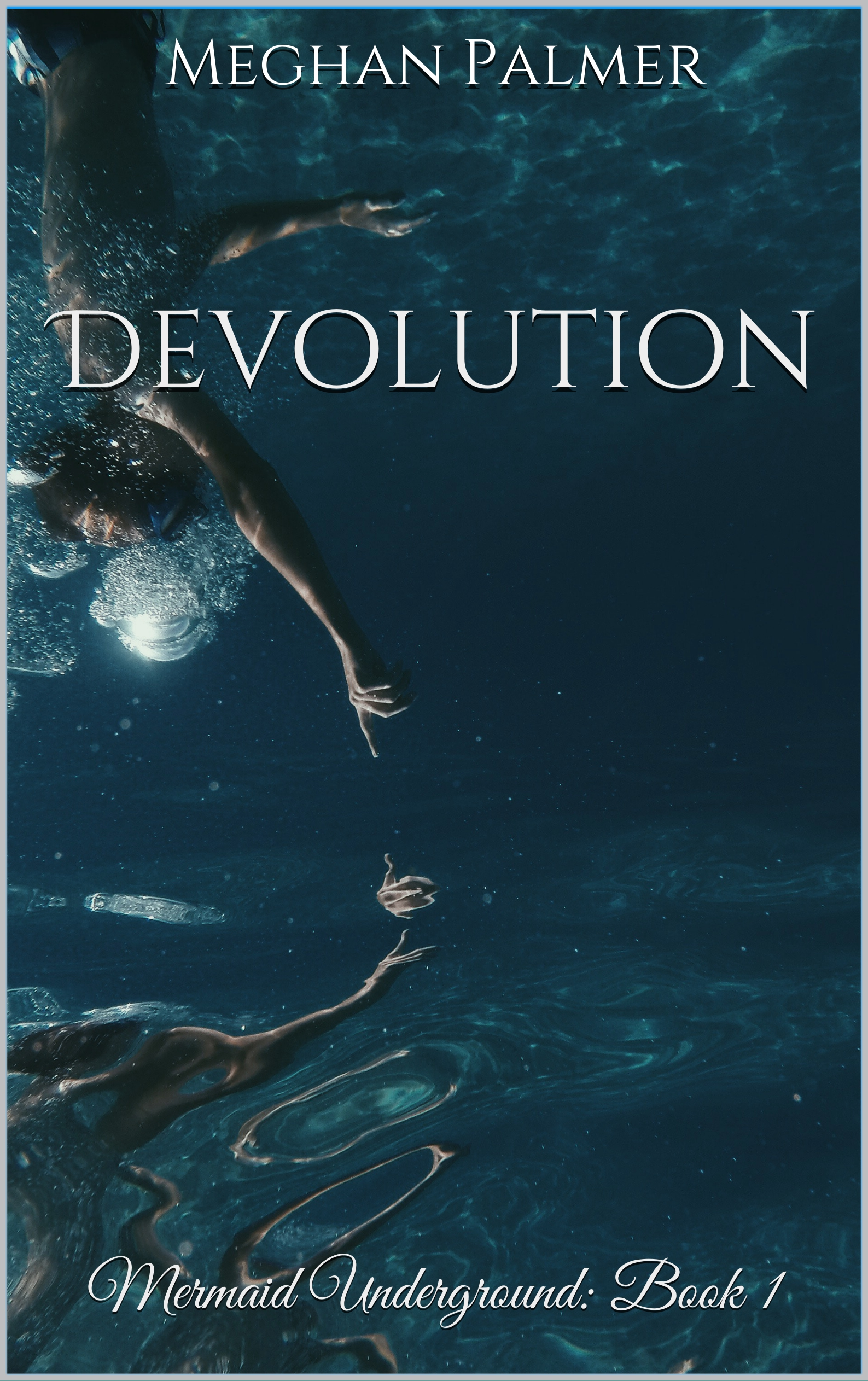 person swimming and pointing down cover of Devolution ebook