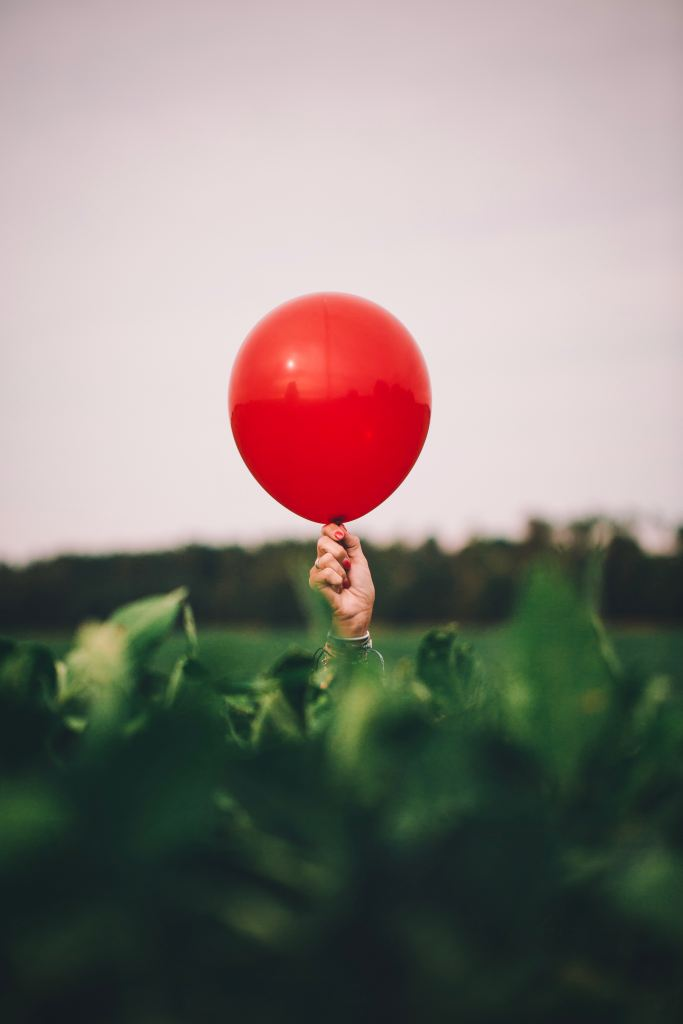 red balloon raised in one hand over a field of green leaves