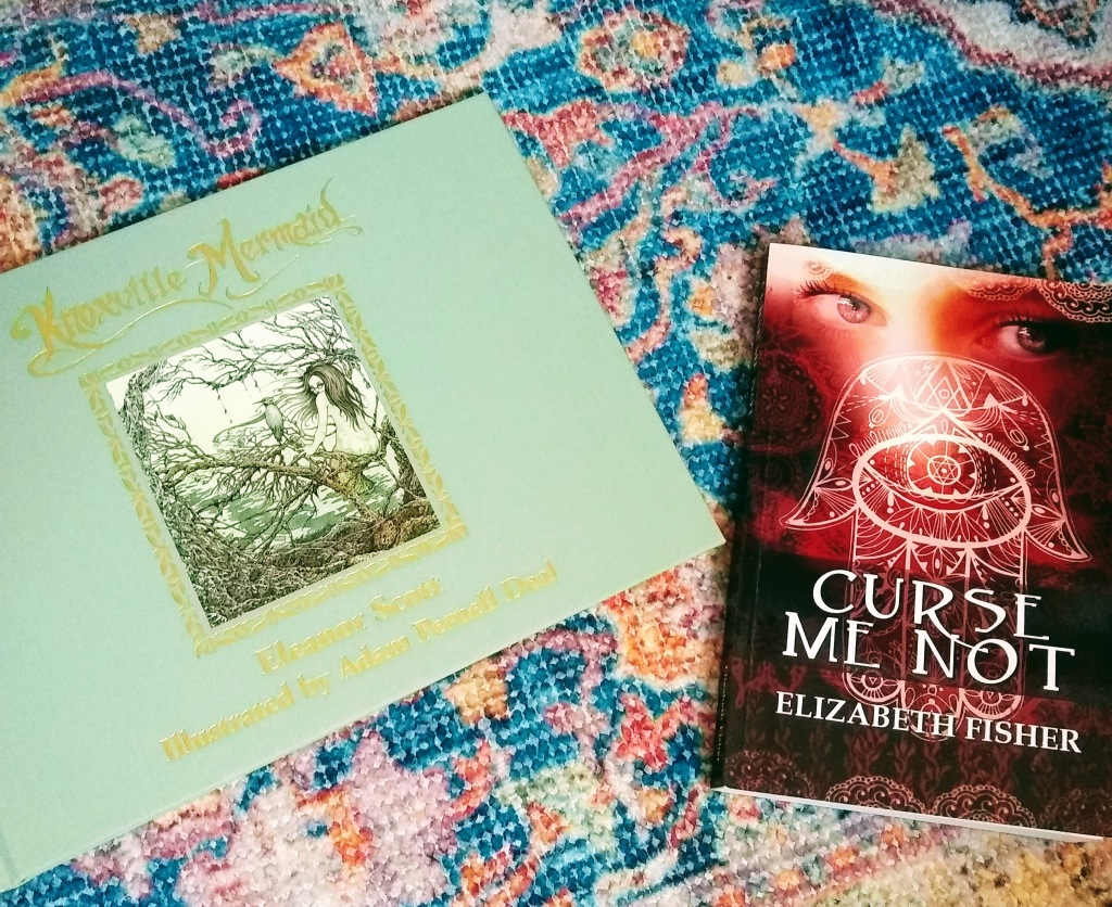 "Covers of ""Knoxville Mermaid"" and ""Curse Me Not,"" by Eleanor Scott and Elizabeth Fisher."