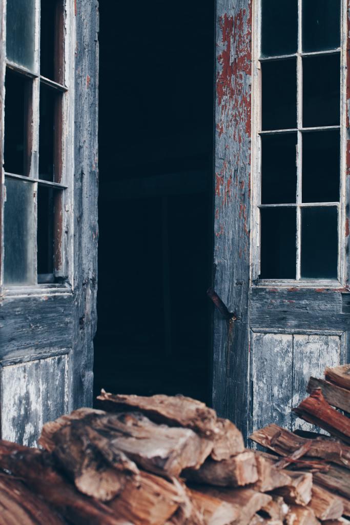 An aging, peeling door opens into a dim room.