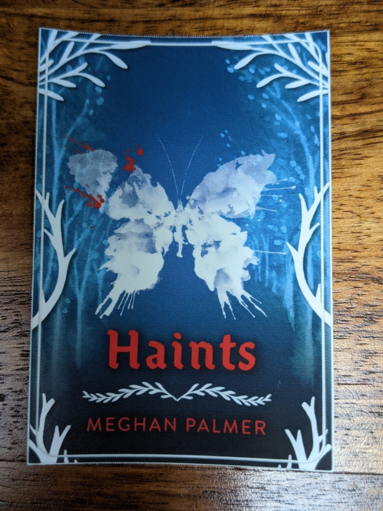 blue background with white, abstract butterfly and white tree outlines. The title and author are printed in red text.